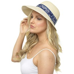 GL749 Ladies Cloche Hat With Ribbon Trim