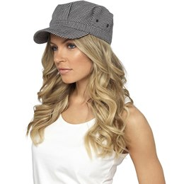 GL770BK LADIES STRIPED CAP WITH BUCKLE  BLACK