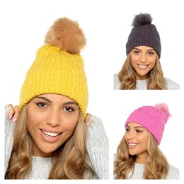 GL837 LADIES BRUSHED BOBBLE HAT