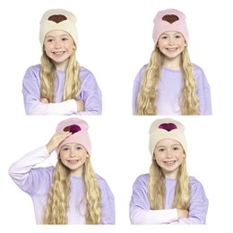 GL910 KIDS BEANIE HAT WITH REVERSIBLE SEQUINS HEART DESIGN