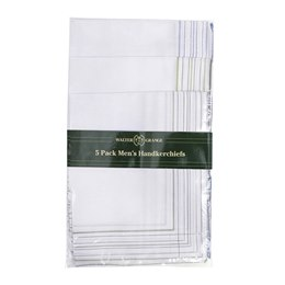 HK002 MENS 5 PACK WHITE HANKIES WITH COLOUR BORDER