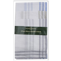 HK002A MENS 5 PACK WHITE HANKIE WITH COLOUR BORDER