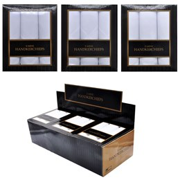 HK015 MENS 3 PACK HANKIES IN DISPLAY BOX