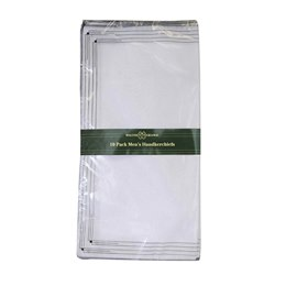 HK021 MENS 10 PACK COLOUR BORDER HANKIES