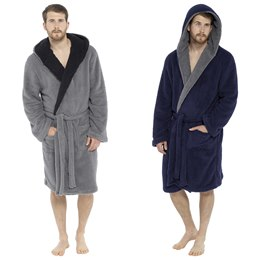 HT042B MENS SHAGGY FLEECE ROBE WITH CONTRAST LAPEL