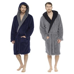 HT042C MENS SHAGGY FLEECE ROBE WITH CONTRAST LAPEL
