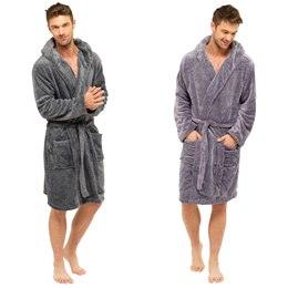 HT078 MENS CATIONIC FLEECE HOODED ROBE