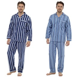HT329A MENS PRINTED STRIPED FLANNEL PJ'S WITH BUTTON FLY