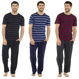 HT332C MENS JERSEY STRIPED TEE AND BOTTOMS PJ SET