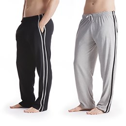 HT516B MENS 2 PACK CONTRAST STRIPE LOUNGE PANTS  BLACK/ GREY