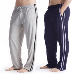 HT516C MEN'S 2 PACK CONTRAST STRIPE LOUNGE PANTS  NAVY/ GREY