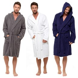 HT568 MENS HOODED TOWELLING ROBE