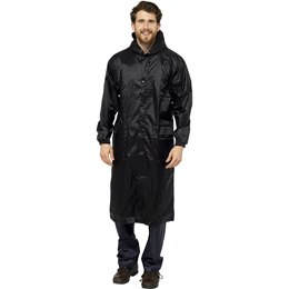 JK516A ADULTS LONG BLACK WATERPROOF JACKET