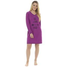 LN1002 LADIES ''BE A LITTLE WILD'' PRINTED JERSEY NIGHTIE