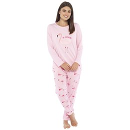 LN1018 LADIES JERSEY TOP AND FLEECE BOTTOMS FLAMINGO PYJAMA SET
