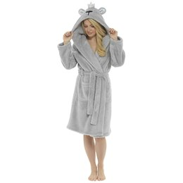 LN1065 LADIES GLITTER THREAD HOODED GOWN WITH BEAR EMBRIODERY AND CROWN