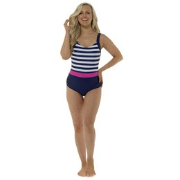 LN1068 LADIES V NECK CLASSIC STRIPE SWIMSUIT