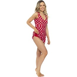 LN1088 LADIES V NECK SPOT PRINT SWIMDRESS WITH SCOOP BACK