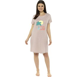 LN1163 Ladies Palm Print Jersey Nightie