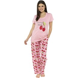 LN1169 Ladies Cherry Bomb Jersey Pyjama Set