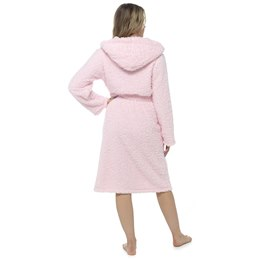LN1191 Ladies Pink Fluffy Long Pile Hooded Dressing Gown