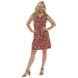 LN1207 LADIES LINEN V NECK DRESS WITH PATCH PCKET - FEATHER PRINT