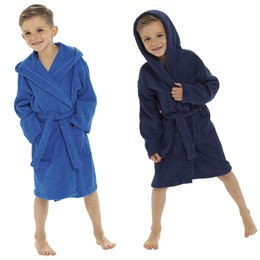 LN122 KIDS TOWELLING ROBE - ROYAL BLUE & NAVY