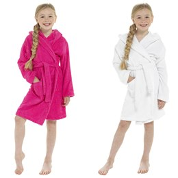 LN123 KIDS TOWELLING ROBE - HOT PINK & WHITE