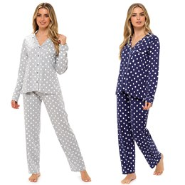 LN1345 Ladies Jersey Button Through Pyjama Set in All Over Polka Dot Print