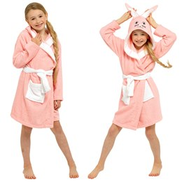 LN176 GIRLS PURE COTTON PINK BUNNY  NOVELTY HOODED TOWELLING ROBE
