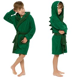 LN180 BOYS PURE COTTON DINOSAUR NOVELTY HOODED TOWELLING ROBE