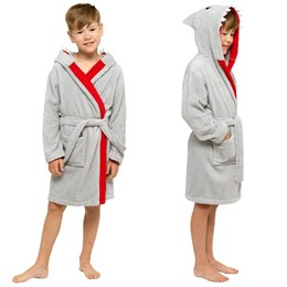 LN181 BOYS PURE COTTON SHARK NOVELTY HOODED TOWELLING ROBE