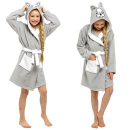 LN207 GIRLS PURE COTTON FRENCH BULLDOG NOVELTY HOODED TOWELLING ROBE