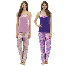 LN347 LADIES W&H FLORAL SATIN BOTTOMS WITH JERSEY VEST PJ SET