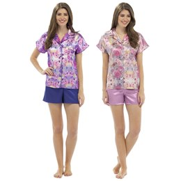 LN349 LADIES W&H FLORAL SATIN BUTTON THROUGH TOP WITH SHORTS
