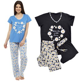 LN377 LADIES 3 PIECE JERSEY PJ SET