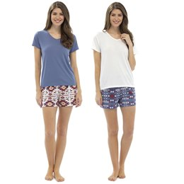 LN384 LADIES AZTEC SHORTS & TOP PJ SET