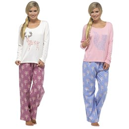 LN389A LADIES ANIMAL PRINT FLANNEL & JERSEY PJ SET