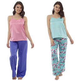 LN438 LADIES PRINTED BOTTOMS WITH VEST PJ SET