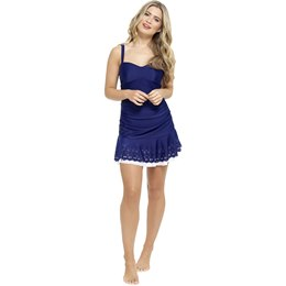 LN486 LADIES CUTWORK SWIMDRESS - NAVY