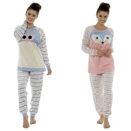 LN511 LADIES ANIMAL MOTIF STRIPED SUPERSOFT FLEECE TWOSIE