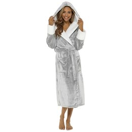 LN526B LADIES SUPERSOFT FLEECE ROBE WITH SHERPA TRIM