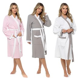 LN547 LADIES CONTRAST STOLL WAFFLE ROBE