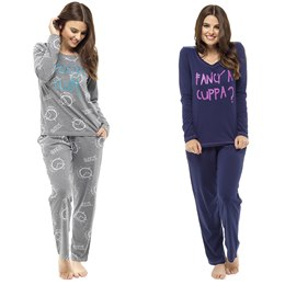 LN595 LADIES ALARM/CUPPA PRINTED PYJAMA SET