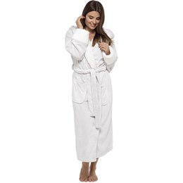 LN605B LADIES SHIMMER FLEECE GOWN WITH SHERPA LINED HOOD AND CUFFS
