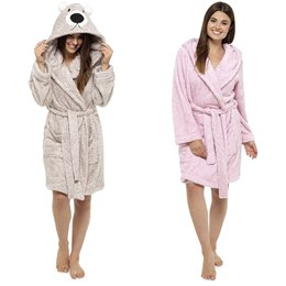 LN633B LADIES CORAL FLEECE ANIMAL EMBRIODERED HOODED ROBE