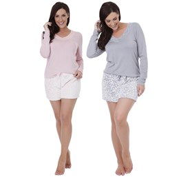 LN669 LADIES W&H FLEECE SHORTS & JERSEY TOP WITH LACE DETAIL PJ SET