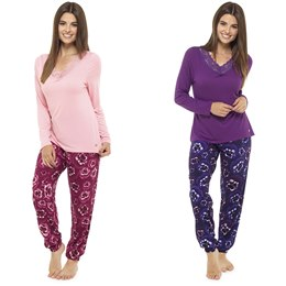 LN670 LADIES PANSY PRINT PJ SET