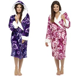 LN672 LADIES PANSY PRINT ROBE