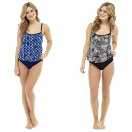LN709 LADIES BLOUSON PRINTED AND PLAIN SWIMSUIT- PALM PRINT & GEO PRINT
